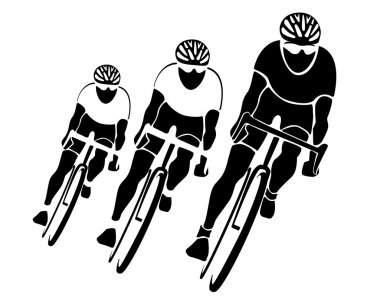 Three cyclists' silhouettes
