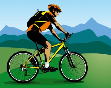 Colour illustration of cyclist and blue mountains