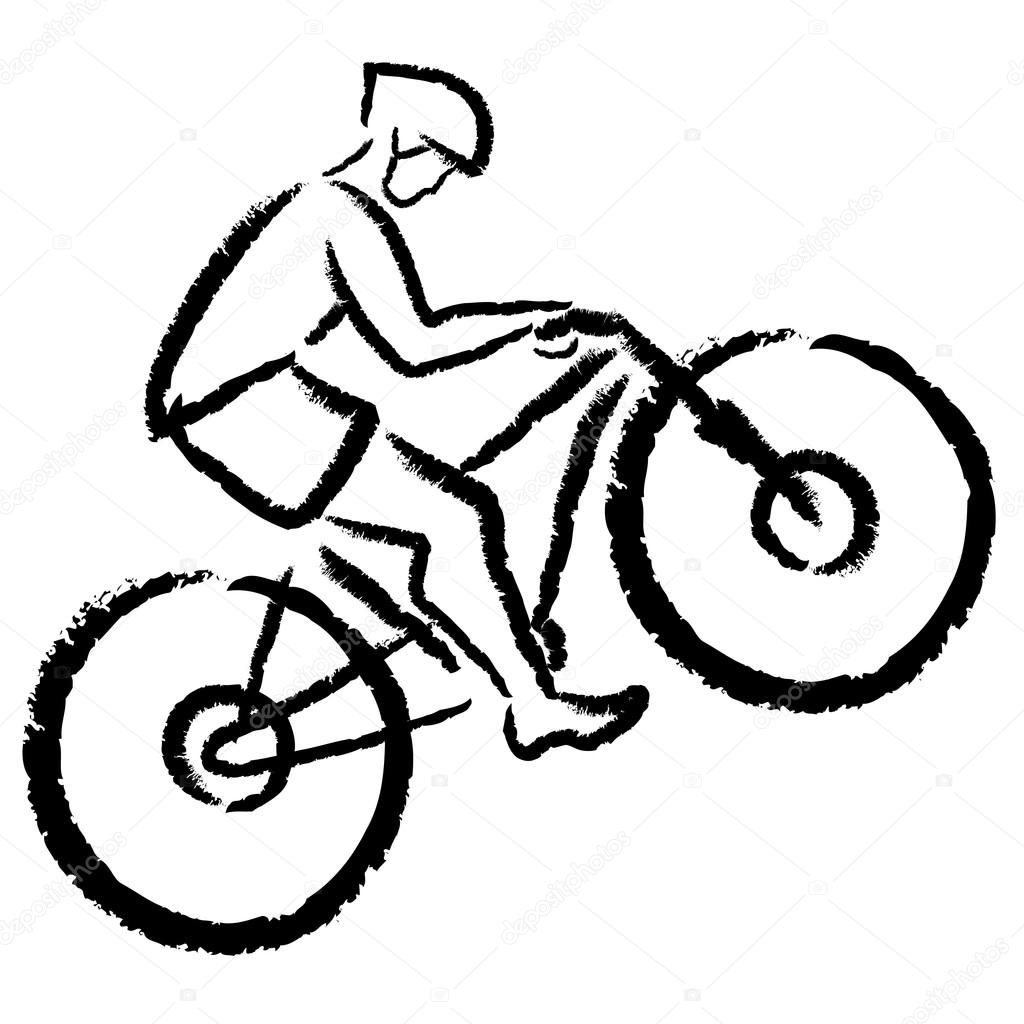 stilisierte Radfahrer auf dem Mountainbike — Stockvektor © kalmatsui ...