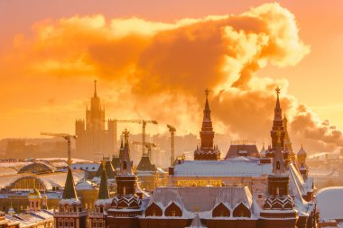 Sunrise over Red Square of Moscow Kremlin. Russia