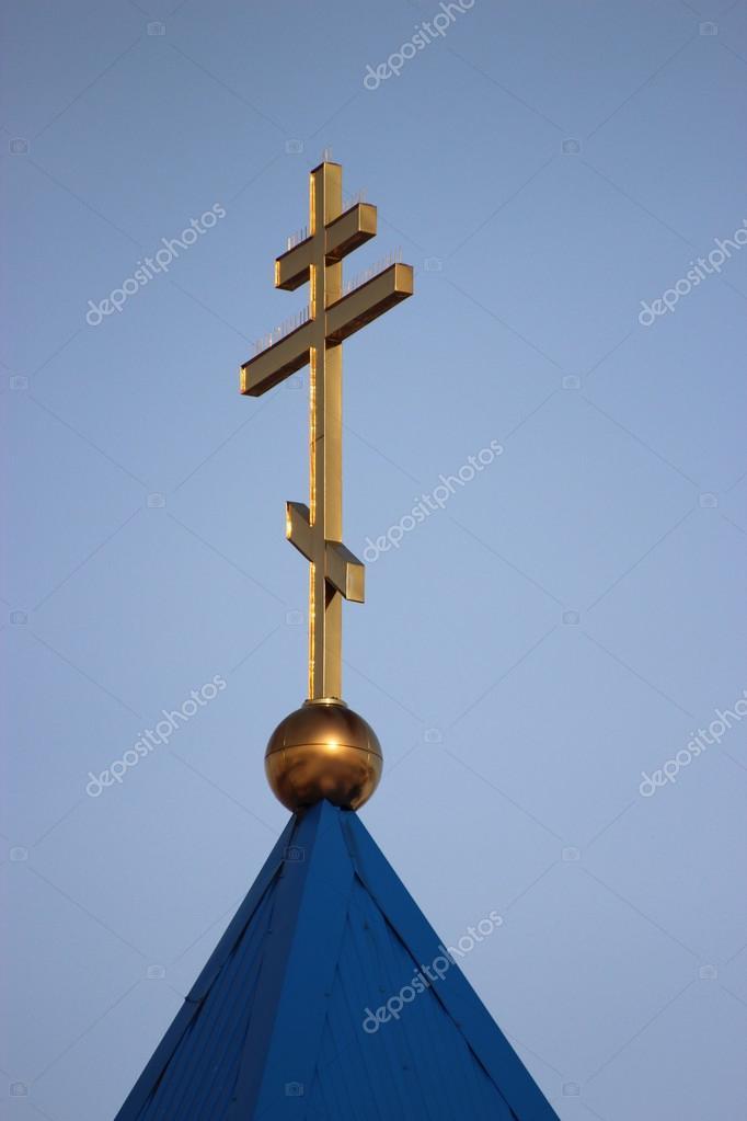 Rysk Ortodoxa Kyrkan Kupol Och Ett Kors Pa En Bakgrund Av