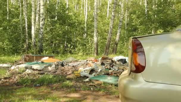 člověk hází odpadky z auta v lese. kontaminace životního prostředí