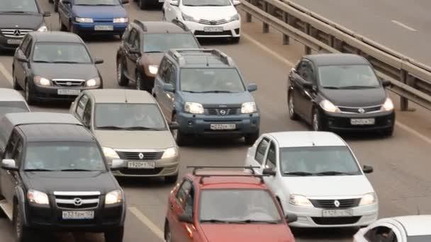 Car traffic jam on the highway