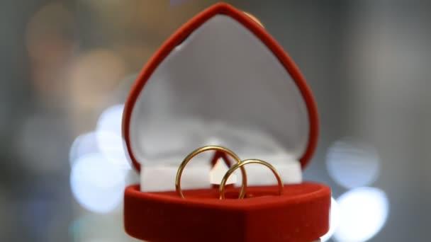 dva snubní prsteny v krabici