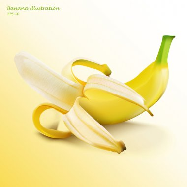 Vector illustration of half peeled banana