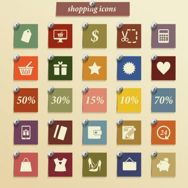 Shopping icons set. Vector pictogram. Retro stickers icons.