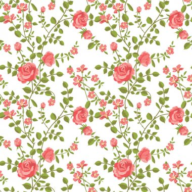 Seamless pattern of blooming roses