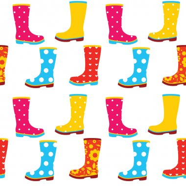 Seamless pattern of colorful gumboots