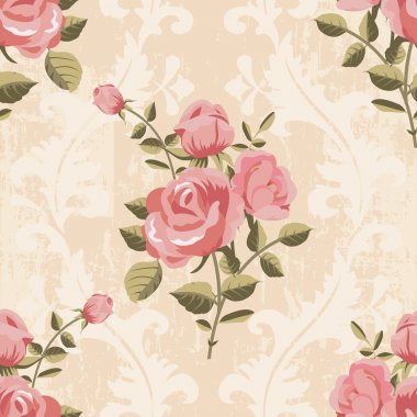 Classic rose pattern seamless wallpaper