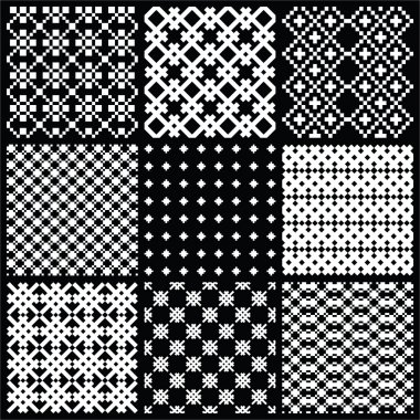 Set of monochrome vector seamless patterns