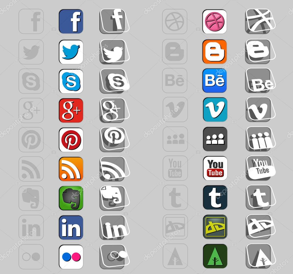 Eighteen social icons in three styles