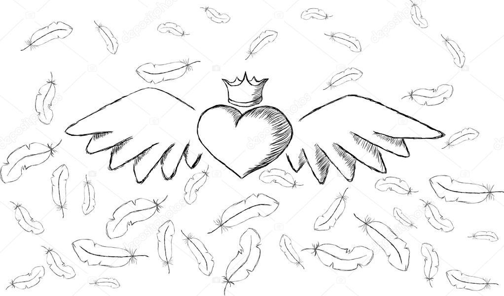Herz mit Flügeln und Federn um — Stockvektor © Ivanchuk #39475667