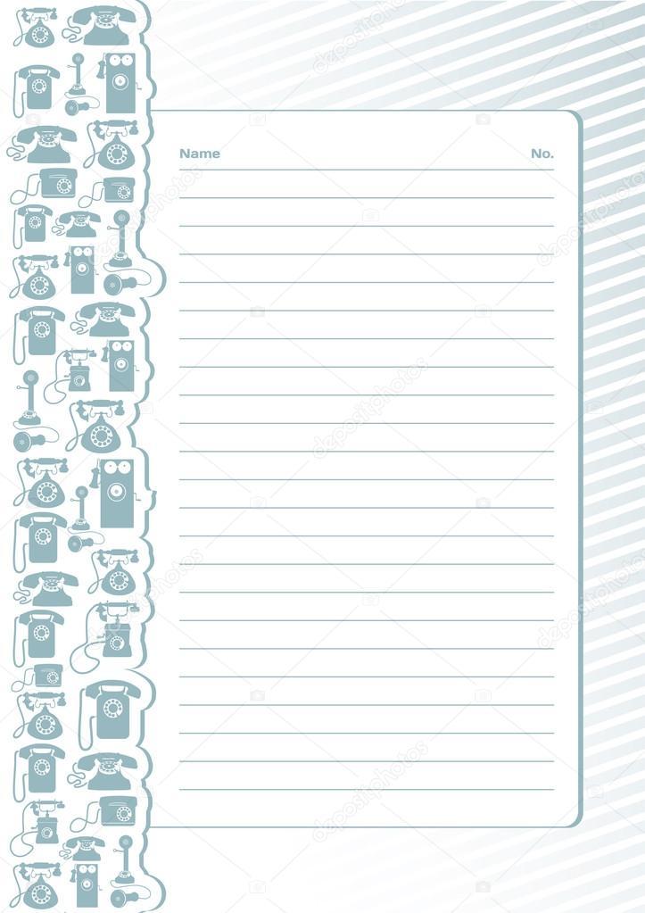 la plantilla para escribir notas y números de teléfono — Vector de ...