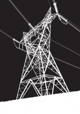 Transmission line on the black background