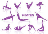 Pilates pózy v fialový siluety