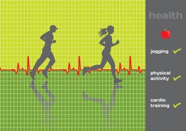 Concept: cardiogram and a physical activity exam, jogging - vect