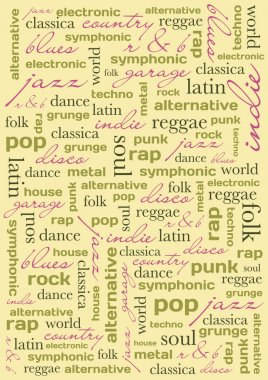 Background with music genres; letters, vector