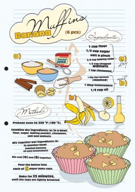 Banana muffin recipe with pictures of ingredients - retro, vecto