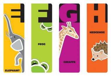 Bookmarks - animal alphabet E for elephant, F for frog, G for gi