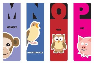 Bookmarks - animal alphabet M for monkey, N for nightingale, O f