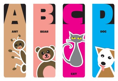 Bookmarks - animal alphabet A for ant, B for bear, C for cat, D