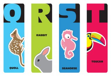 Bookmarks - animal alphabet Q for quoll, R for rabbit, S for sea