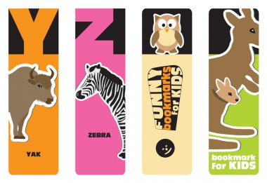 Bookmarks - animal alphabet Y for yak, Z for zebra; for kids