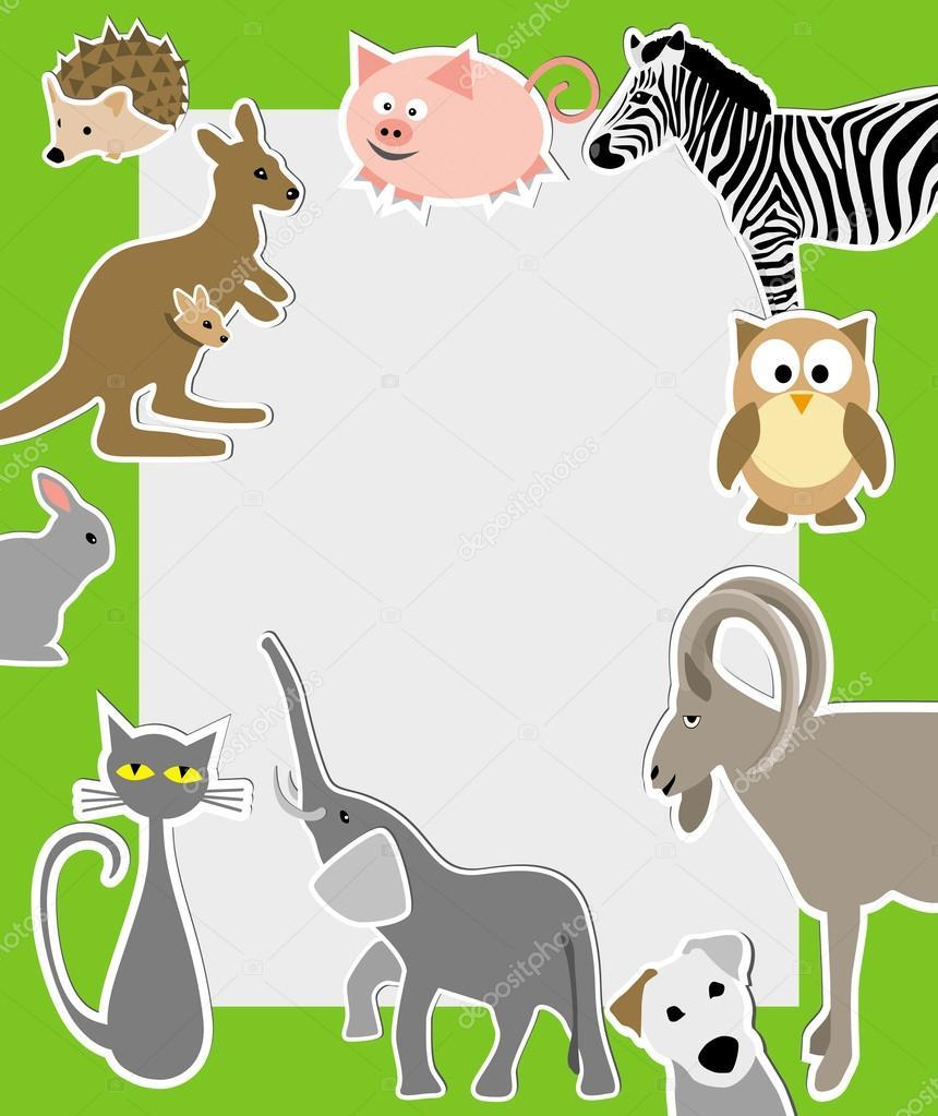cartoon style animals: owl, elephant, pig, zebra, rabbit, cat ka