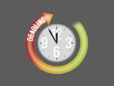 Deadline sign with clock showing five minutes to twelve