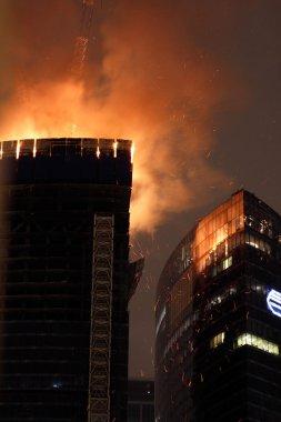 Moscow city gökdelen yangın