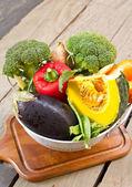 Varieties of vegetable in colander