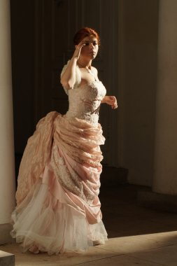 The opera singer,  wedding dress