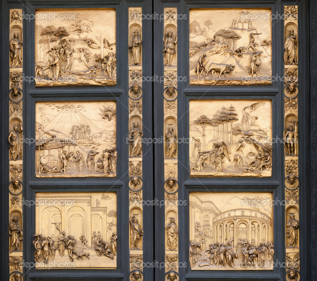 Fragment of the Florence Cathedral Baptistery doors \u2014 Stock Photo & Fragment of the Florence Cathedral Baptistery doors \u2014 Stock Photo ...