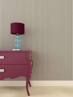 Glamor dresser with lamp
