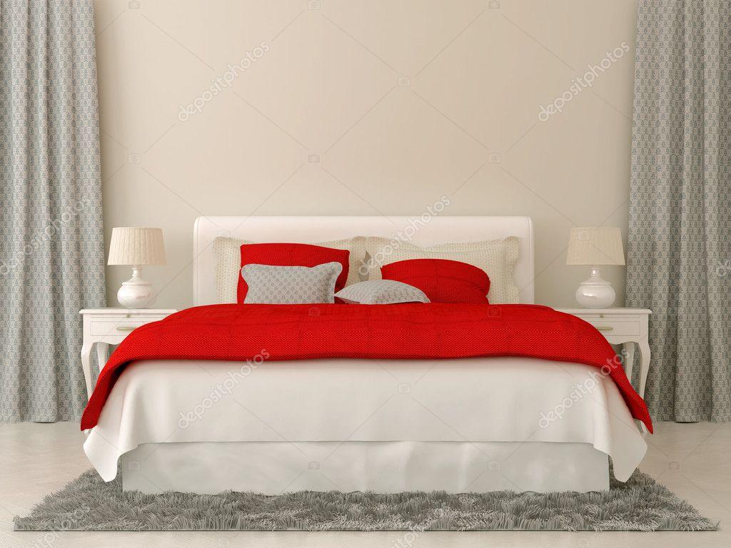 camera da letto con decorazioni rosse e grigie — Foto Stock © JZhuk ...
