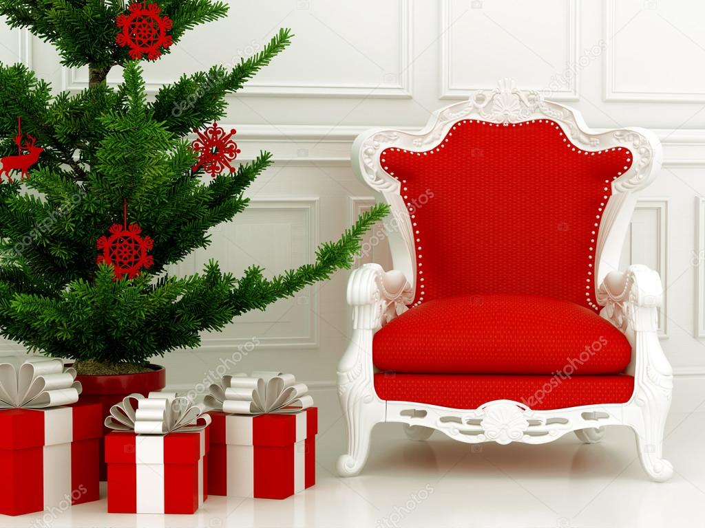 Christmas composition with red chair and a part of a Christmas tree with gifts
