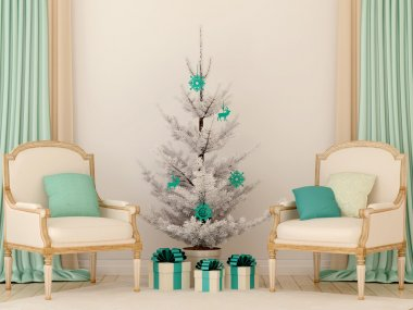 Two classic chairs and white Christmas tree