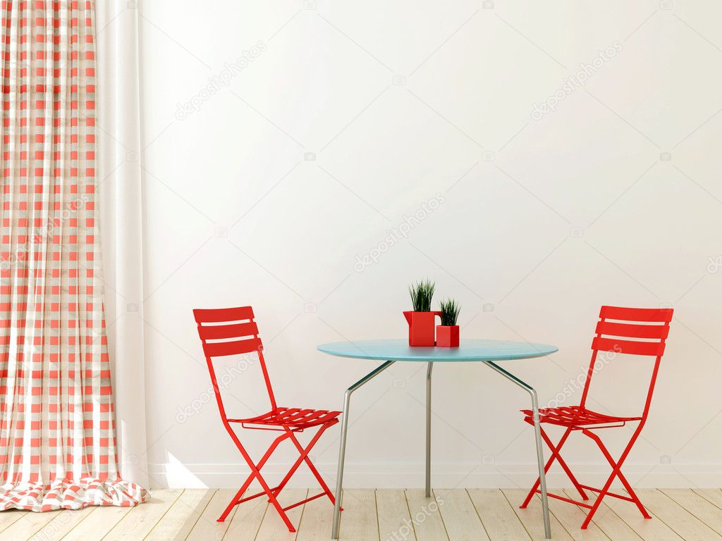 Table with two red chairs