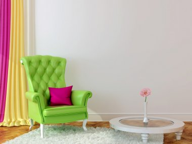 Green armchair in the interior