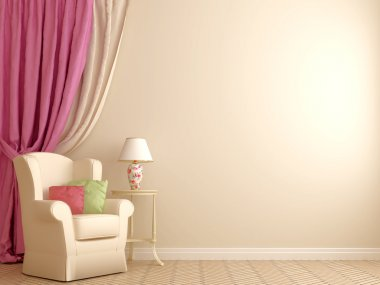 Armchair by the pink curtains