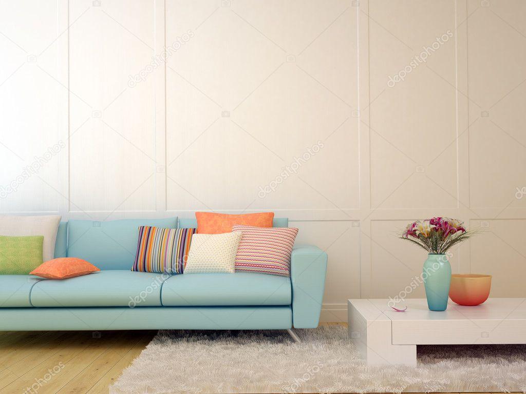 Beeindruckend Hellblaues Sofa Sammlung Von Blaues Mit Bunten Kissen Und Einem Weißen