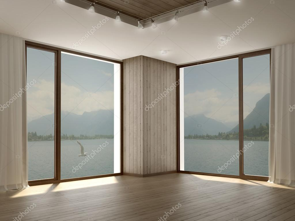 Modernes Zimmer mit zwei großen Fenstern in Ecke — Stockfoto © JZhuk ...