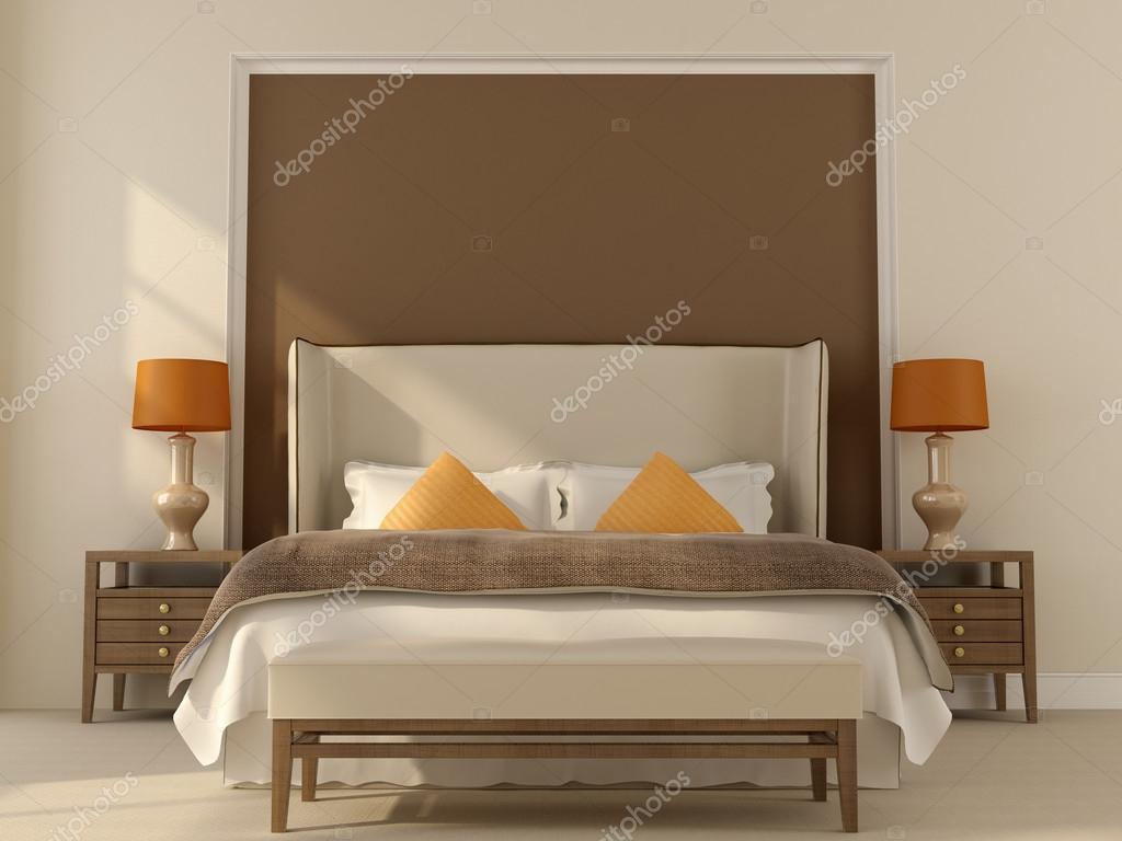 beige slaapkamer met oranje decor — Stockfoto © JZhuk #32076747