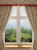okno s krásným výhledem