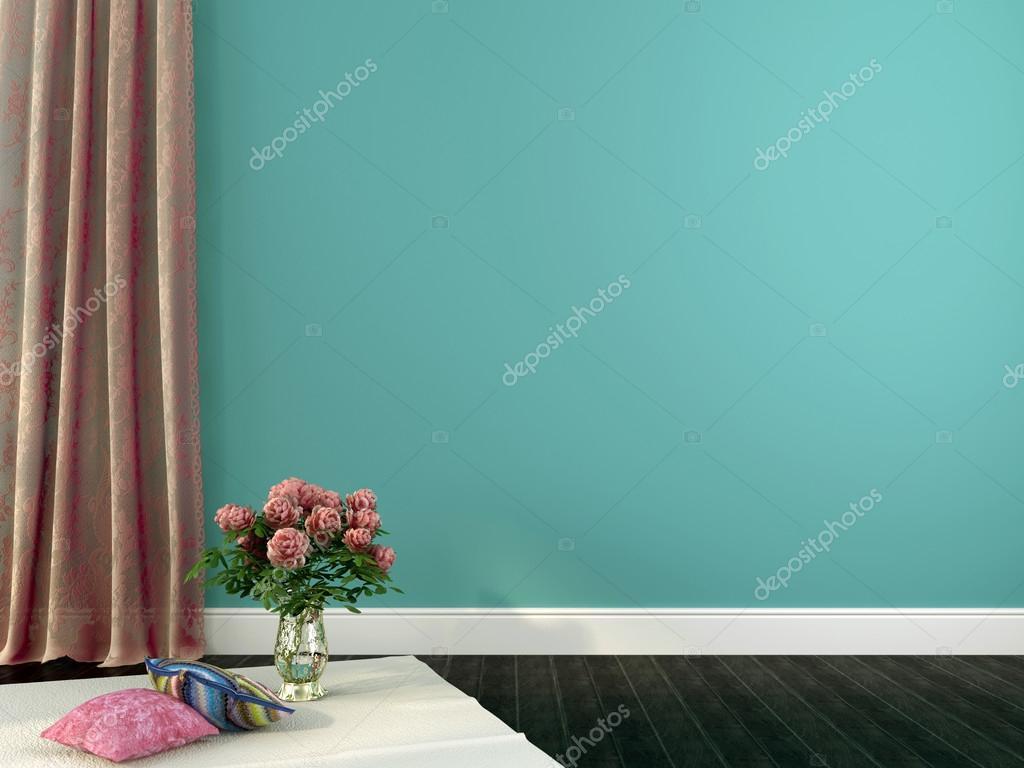 romantische interieur met roze gordijnen en decor — Stockfoto ...