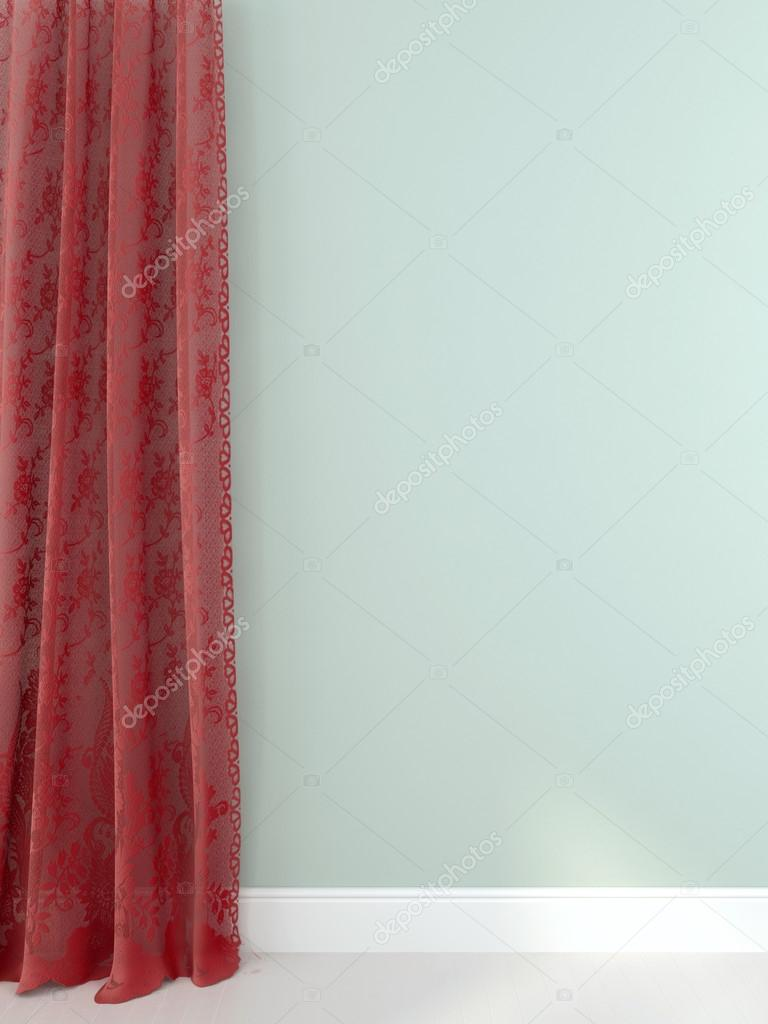 Elegant red curtains against a light blue wall — Stock Photo © JZhuk ...