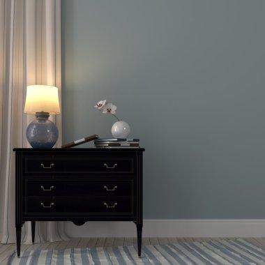 Luminous lamp on the black dresser