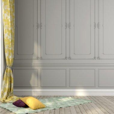 Gray wall and yellow decor