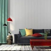 Photo Style interior with dark blue sofa and a red table