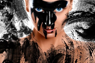 Creative photo of sexy woman with pain on face
